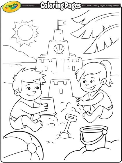 Building Sand Castle Coloring Page.