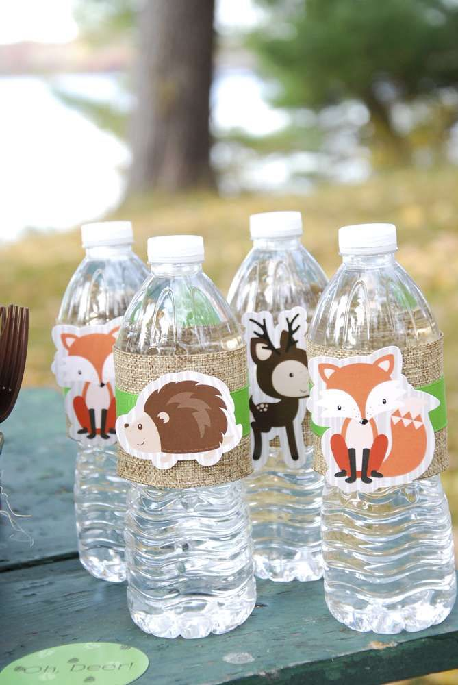 Woodland baby shower drinks!  See more party planning ideas at CatchMyParty.com!
