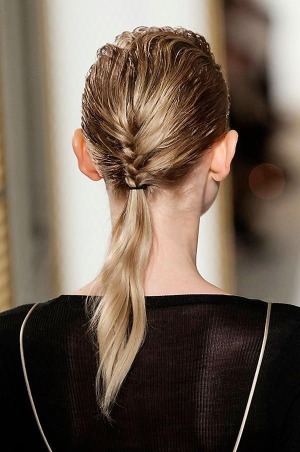 Prom hairstyles for thin hair - fishtail braid at the base of the neck