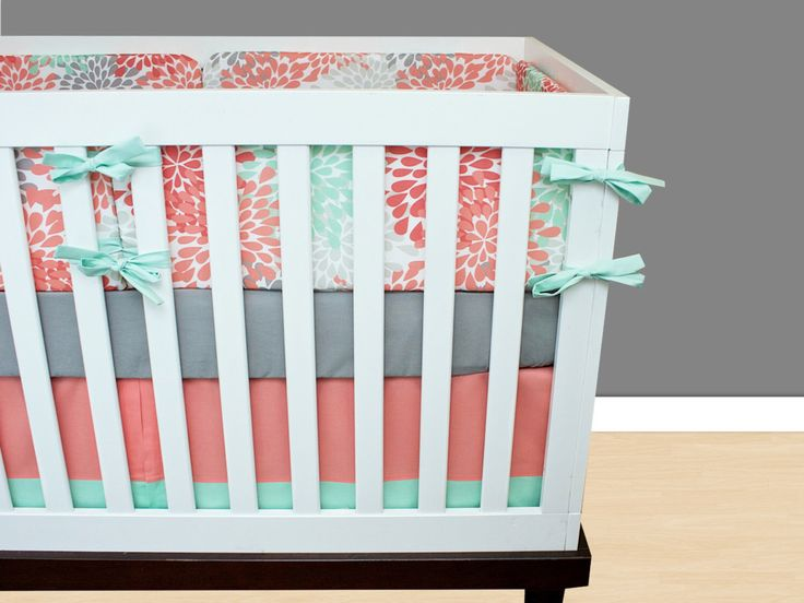 Mint Blooms Baby Bedding Crib Set, Mint Gray Coral Salmon Floral Baby Girl Nursery Bedding by modifiedtot on Etsy https://www.etsy.com/listing/250982903/mint-blooms-baby-bedding-crib-set-mint