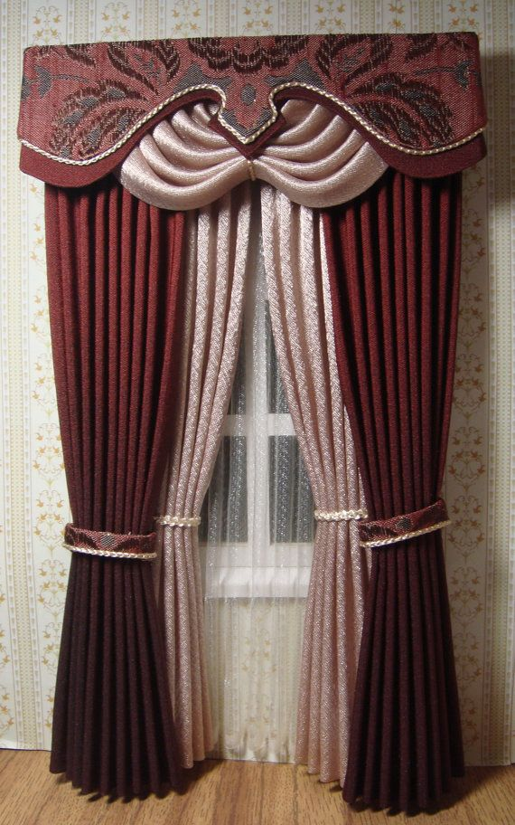 Miniature 1:12 Dollhouse curtains (made to order)