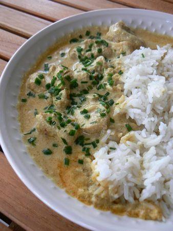 Poulet coco et riz blanc