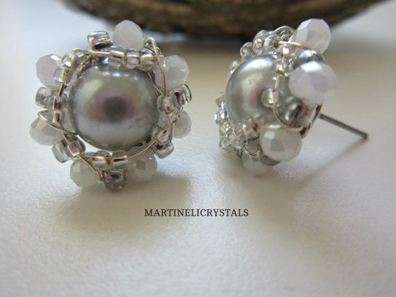 Gray Pearl Stud Swarovski Gray Wire Wrapped by MARTINELICRYSTALS