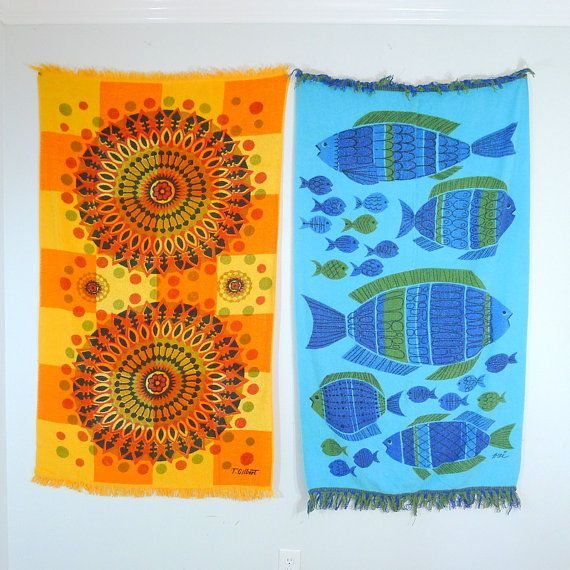 2 Mid Century Modern Beach Towels, Bath Towels, Groovy Retro, Starburst, Psychedelic, Orange, Yellow, Blue, Green, Royal Terry of California