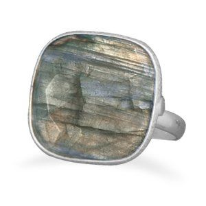 Chunky Labradorite Ring Sterling Silver AzureBella Jewelry. $32.66. Textured edge. .925 sterling silver. Jewelry gift box included. Polished finish. Genuine, natural stone
