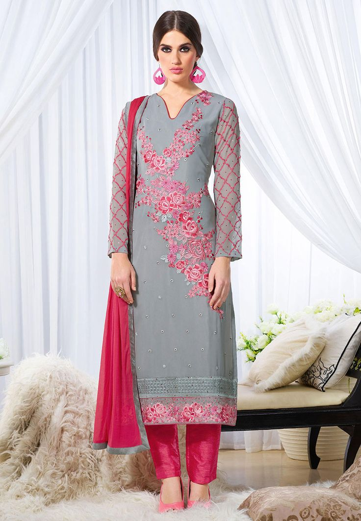 Embroidered Georgette Pakistani Suit in Grey: KVH29