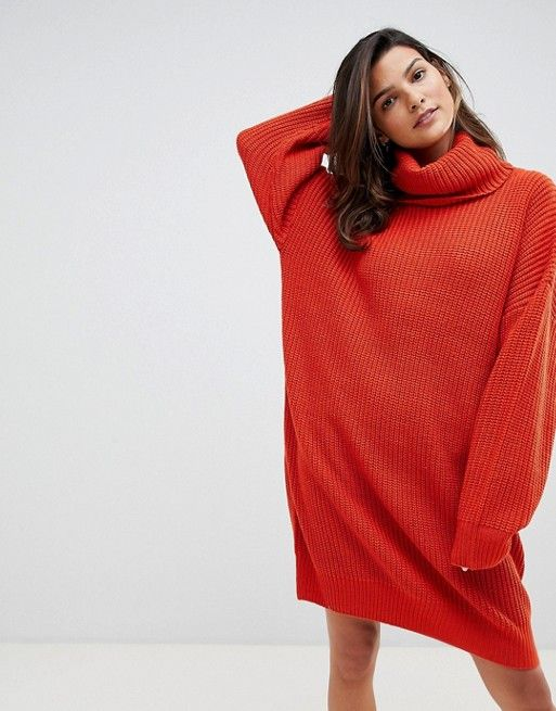 53dc25c20dc Micha Lounge Knitted Sweater Dress With Oversized Funnel Neck ...