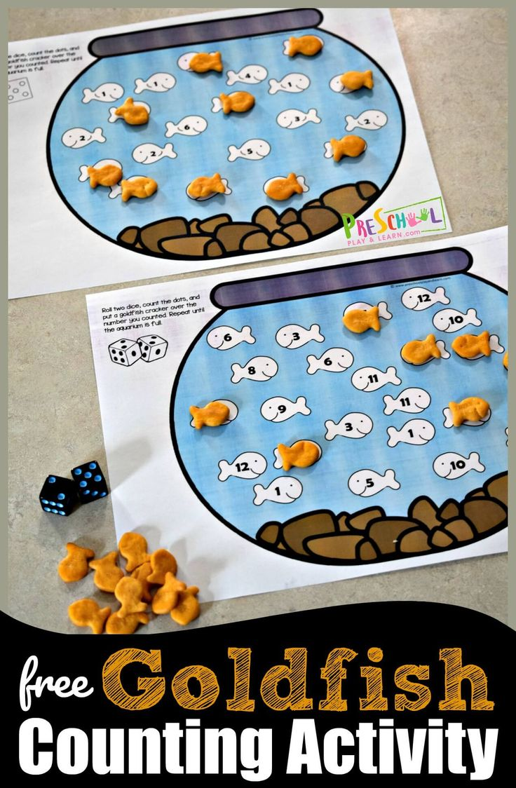 FREE Counting with Goldfish Activity – this is such a fun hands on preschool mat…