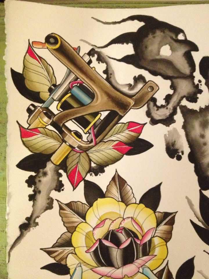 Jonsey Tattoo machine. Idle Hands are the Devils play things. Tattoo flash. Spit shade
