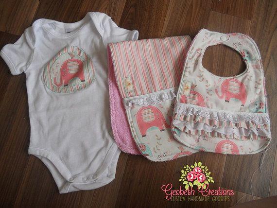 Pink Elephant body suit, bib and burp cloth