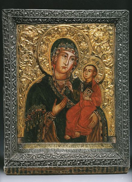 A RARE ARMENIAN MADE ICON FROM THE TREASURY OF ETCHMIADZIN, painted by Naghash Hovnatan (1661-1722), the founder and most distinguished of the famous school of painters of that name. He was the leading Armenian artist of the period and painted much of the dome of the Etchmiadzin Cathedral as well as an image on the front of the high altar...