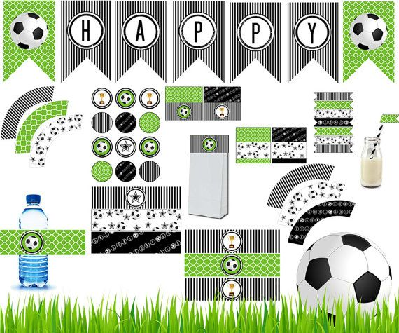 Soccer Party Printable Kit / Complete Soccer party DIY decor kit / Instant download