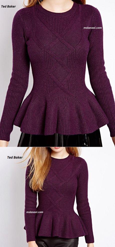 Вязаный пуловер с баской | Вяжем с Лана Ви