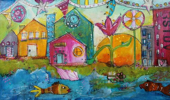 Sunset Beach acrylic painting funky houses by the beach by JodiOhl