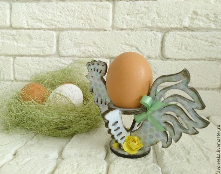 Купить Держатель для яиц Петух - бирюзовый, голубой, разноцветный, в горошек, петух, Пасха, петушок