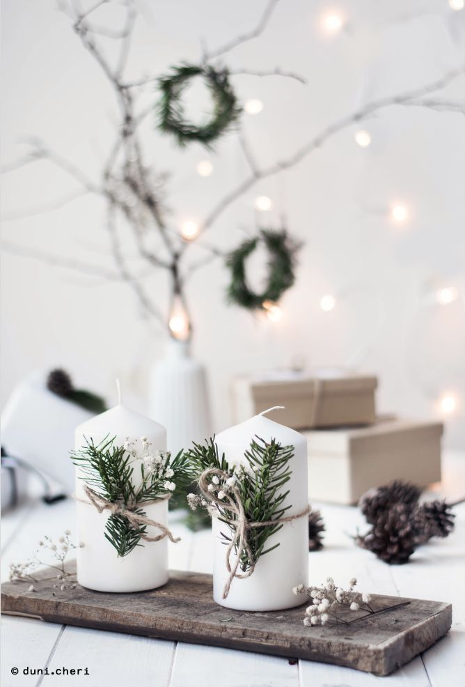 Minimalistic Christmas decoration making fir branches by yourself