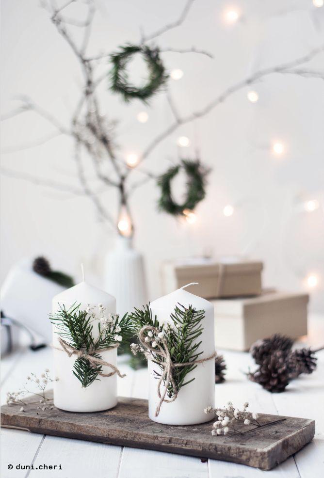 Minimalistische Weihnachtdekoration Tannenzweige selber machen