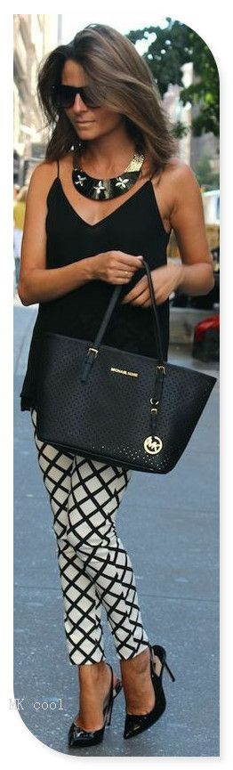 Casual Street Style Look Michael Kors Outfit Cool Pants and Bag. |