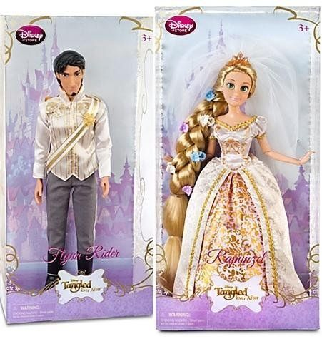 Tangled Ever After Rapunzel / Flynn Rider Doll -- 12'' H by IMPORT. $79.96. Disney's newest princess, Rapunzel, looks dreamy in her wedding gown inspired by Disney's newest animated short, Tangled Ever After. Your little princess will love re-enacting the hilarious antics of Rapunzel's wedding to Flynn Rider! Former thief Flynn Rider looks quite debonair dressed in his wedding suit inspired by Disney's newest animated short, Tangled Ever After. Your little princess...