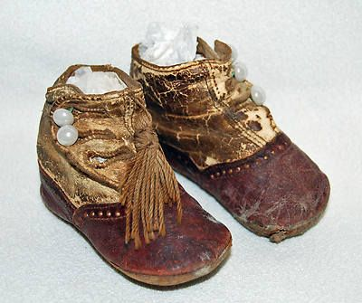 Antique Victorian Children's Baby Newborn 5 3 Button Up Leather Boots Shoes | eBay