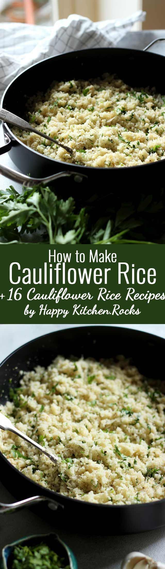 Light and fluffy basic Cauliflower Rice recipe used to make delicious gluten-free and low carb sides, risotto, fried rice, salads, soups, burrito bowls, sushi and more! Step-by-step video guide on how to make cauliflower rice using a box grater plus 12 recipes that include cauliflower rice. #lowcarb #glutenfree #recipes #healthyrecipes #vegan #veganrecipes #healthyveganrecipes #cleaneating #food #vegetarianrecipes