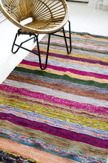 Colorful carpets made from recycled saris