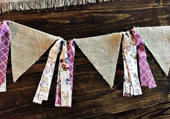 ~ Sweet Orchid ~  Set of classic pinks & purples with floral in a rag tie fabric + burlap pennant banner! This banner has (5) pennants that
