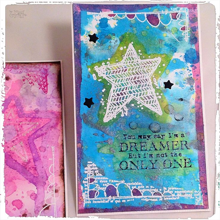 Mixed media card with carabelle stamps, black gesso, wow embossing powder, distress ink, perfect pearls