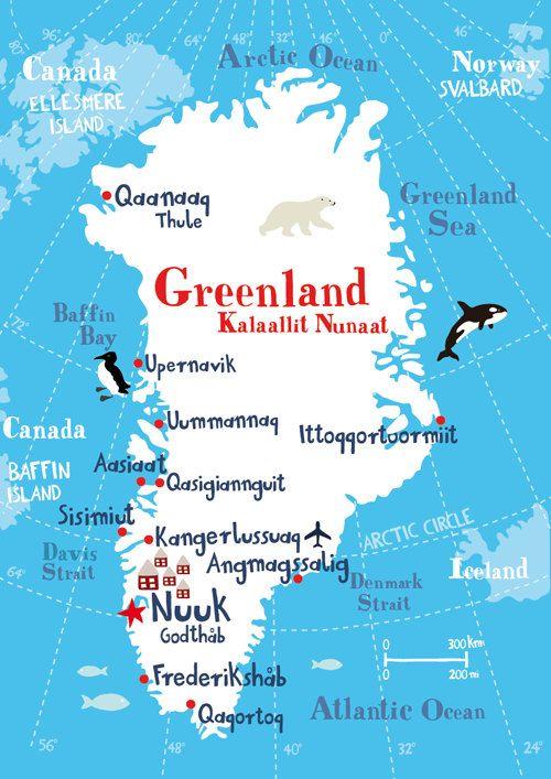 Illustrated Map of Greenland 11.69 x 16.54 by biancatschaikner