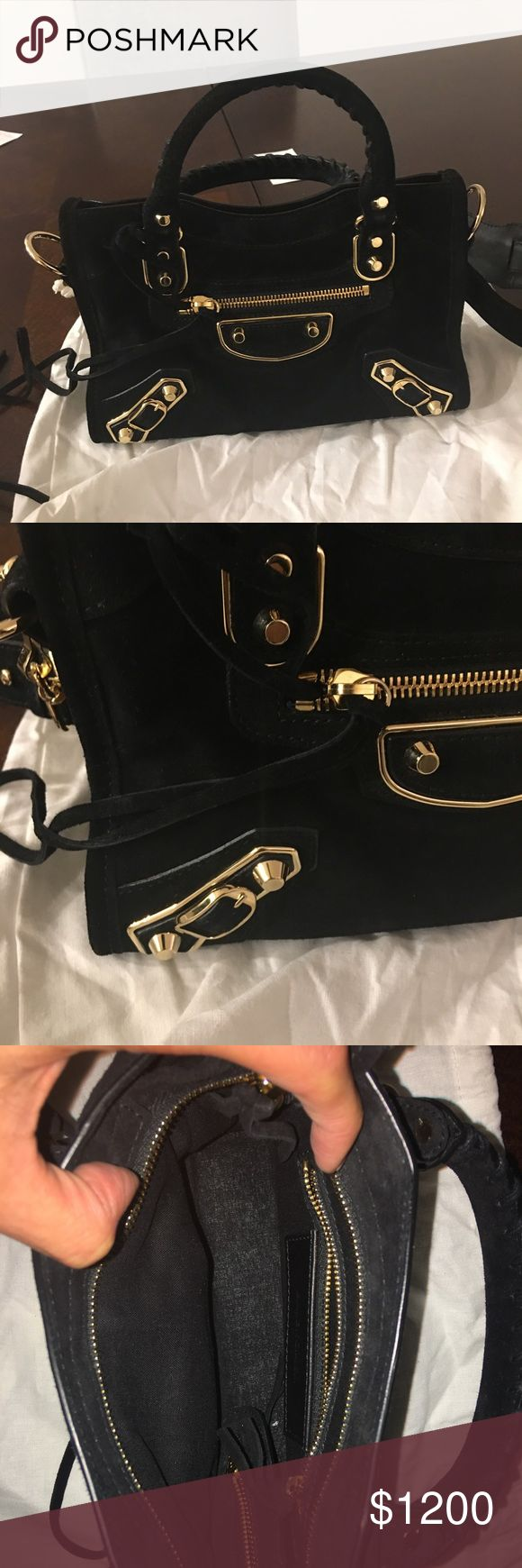 New authentic Balenciaga mini city bag New authentic Balenciaga metallic edge mini city bag. Calf suede. Removable shoulder strap. Gold hardware. Comes with tags and dust bag. Can be worn as satchel, crossbody or shoulder.m bag. Balenciaga Bags Crossbody Bags