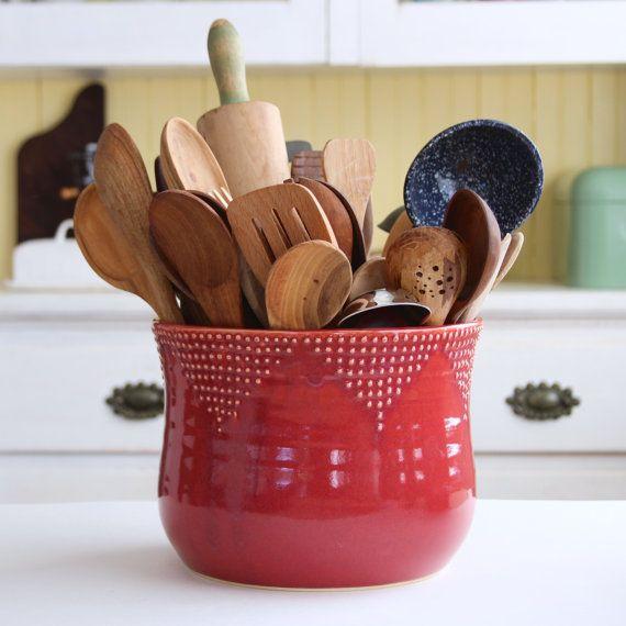 Titular de utensilio de cocina tamaño Jumbo - 16 colores hechas a mano - verde, azul, blanca, roja - lanzada plantador de la flor - decoración moderna - a la orden
