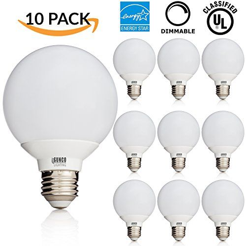 Sunco Lighting 10 PACK - UL & ENERGY STAR LISTED - 6W Dimmable G25 LED Bulb, 40W Equivalent Vanity Light Bulb, Warm White 3000K, Medium E26 Screw Base Omnidirectional Globe Bulb - ~Product Specifications~ - Base Type: E26 - Dimmable : Yes - Color: Warm White 3000K - Luminous Intensity: 450lm - Watts: 6W - CRI: 80 - Voltage: 120V - Halogen Equivalent: 40W - Certifications: UL & Energy Star ~Description~ 1) This High Power G25 LED Bulb, offers a market leading 450lm output a...