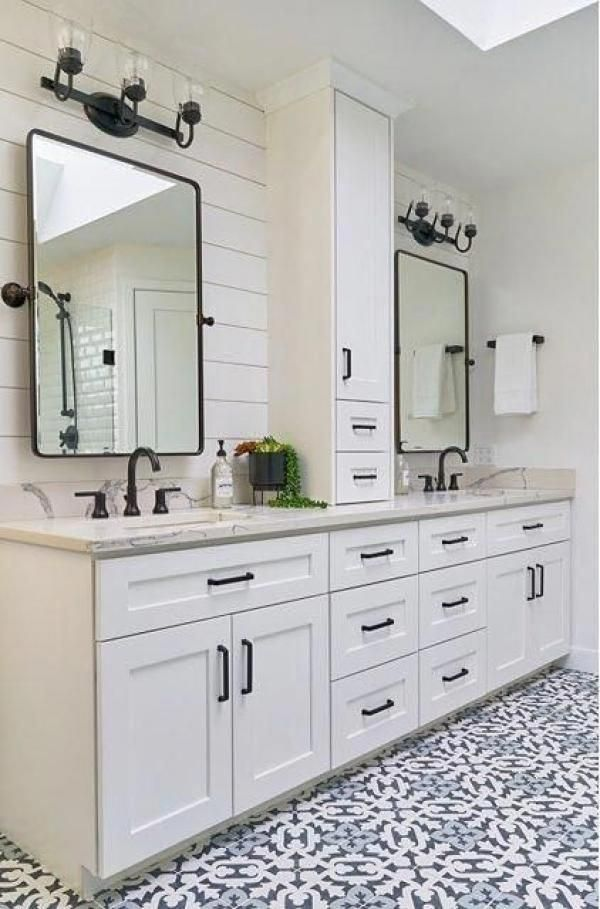 Modern Farmhouse Master Bathroom Modern Decor Could Be Trendy Clinical And Minimal Master Bathroom Design Farmhouse Master Bathroom Bathroom Remodel Master Modern white bathroom vanity ideas