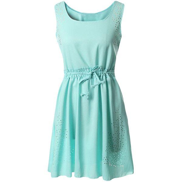 Green Plain Sleeveless Tunic Fashion Womens Midi Dress ($23) ❤ liked on Polyvore featuring dresses, green, sleeveless dress, blue dress, sleeveless midi dress, green day dress ve calf length dresses