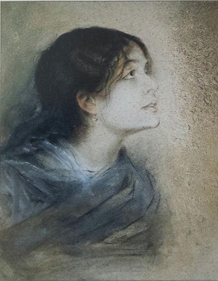 Franz von Lenbach(1836ー1904)「Ritratto di Eleonora Duse(Brescia pinacoteca Tosi Martinenngo)