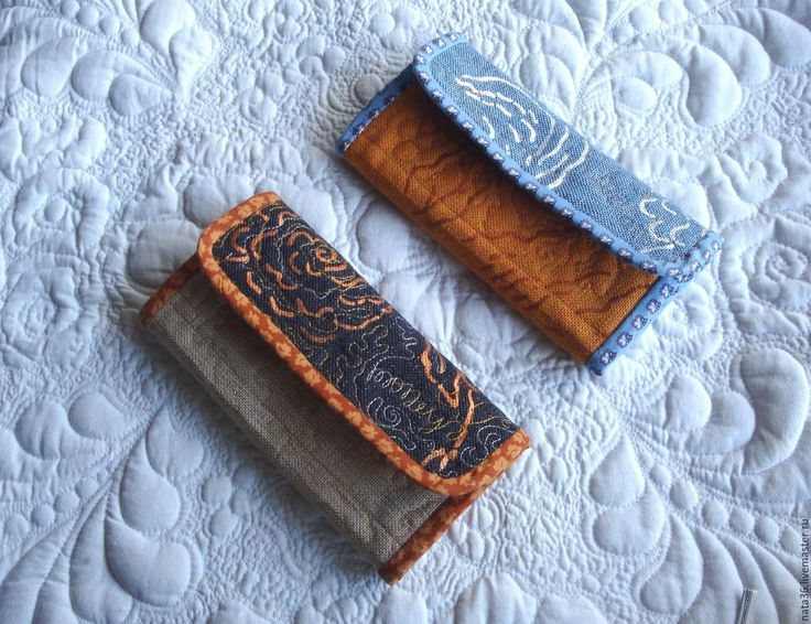 """Купить Текстильный, стеганый кошелек """"Gold & Blue"""" - золотой, абстрактный, кошелек ручной работы"""