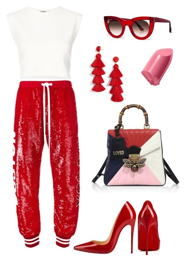 """""""Untitled #402"""" by stylistrr on Polyvore featuring Christian Louboutin, Ashish, Puma, Gucci, Thierry Lasry, Bobbi Brown Cosmetics and BaubleBar"""