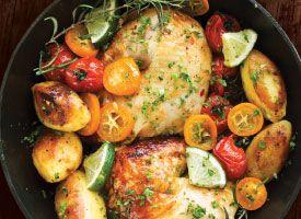 Recipe: Oven-roasted Kumquat Chicken. A terrific combination of earthy potatoes, savory rosemary and bright and tangy kumquats.