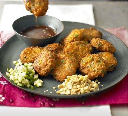 Thai fishcakes with sweet chilli sauce | BBC Good Food used this recipe for the canapés and made them smaller!