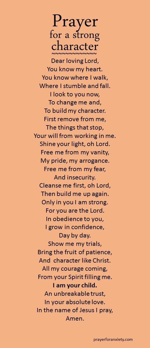 A prayer to strengthen my character