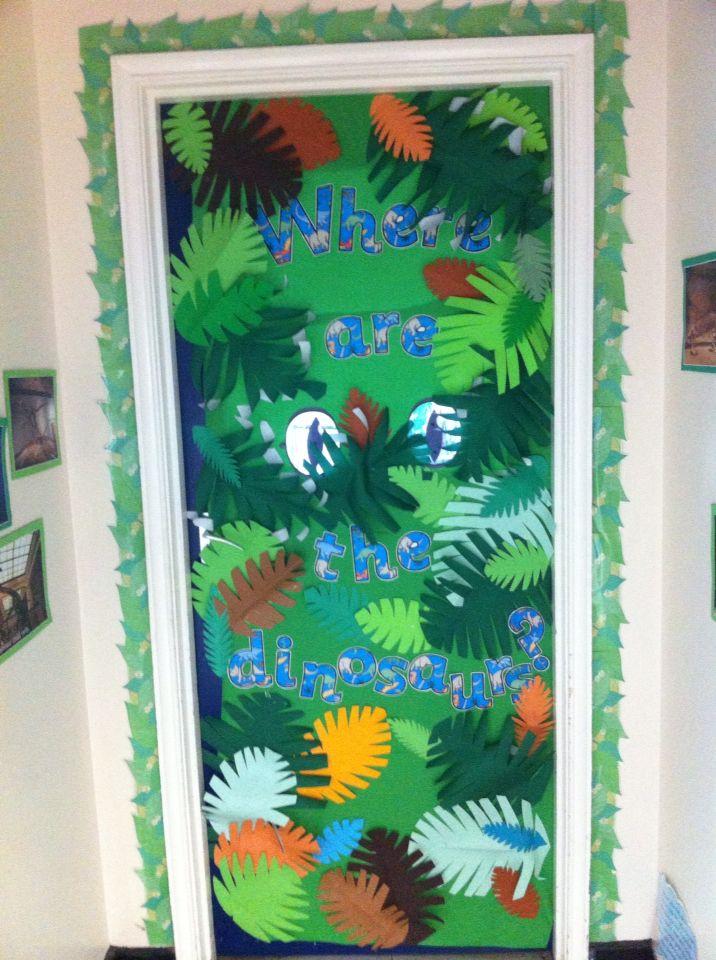 Where are the dinosaurs? Dinosaur classroom door