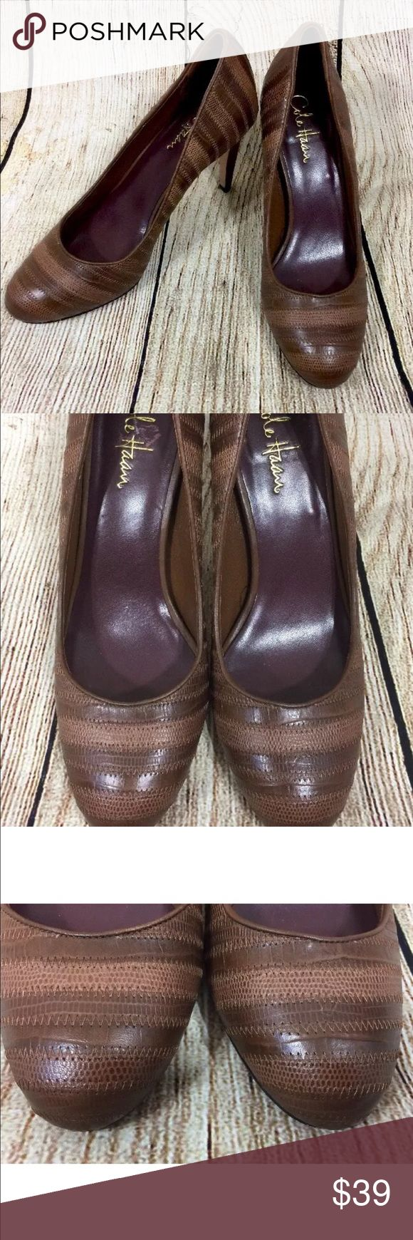 Cole Haan Nike Air Brown Size 8 1/2 B Cole Haan Nike Air Brown Striped Womans Shoes Heels Pumps Size 8 1/2 B Cole Haan Shoes Heels