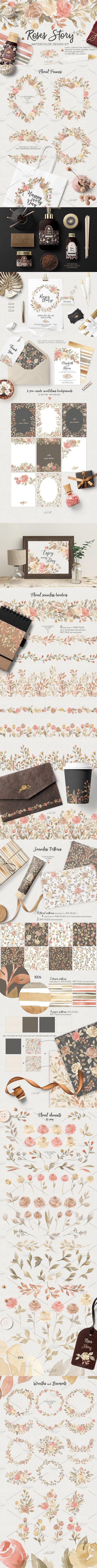 Roses Story Design Kit Watercolor Wedding Card
