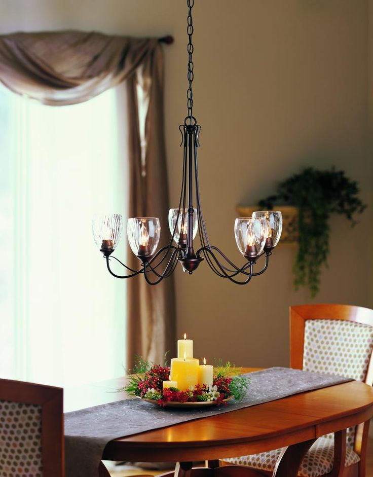 Buy 5 Light Trellis Chandelier With Water Glass Shade Finish: Mahogany