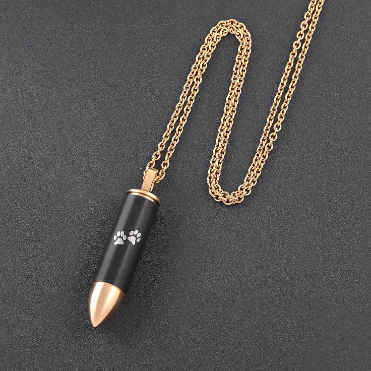 Gold and Black Plated Bullet Urn Pet Cremation Jewelry