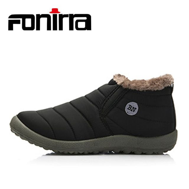 Cut Price $14.85, Buy FONIRRA Men Snow Boots Solid Color Warming Fabric Slip-on Ankle Boots for Male Winter Outdoor Shoes Plus size 38-48 261