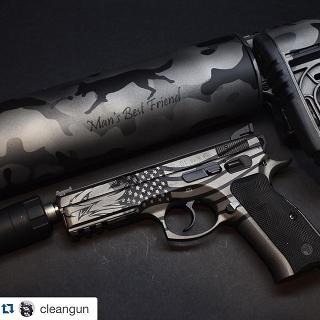 #Repost @cleangun with @repostapp. ・・・ CZ 75 Screaming Eagle and @xproducts Can cannon. Cerakote by @weaponworksllc #cz #sp01 #cancannon #mansbestfriend #cerakote #screamingeagle #gunsdaily #weaponsdaily #2a
