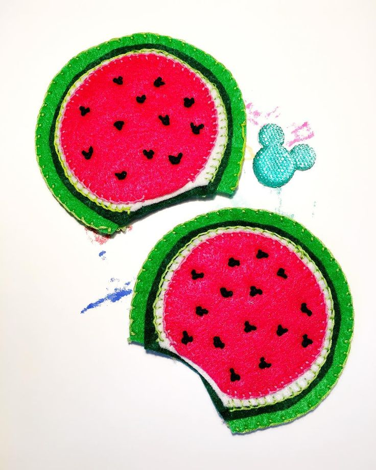 Happy National Watermelon Day! The ears are almost done and what a happy coincidence! . . . . . . . . . . . . . . . . . . . #nationalwatermelonday #watermelon #fruits #fruit #mickeyears #wip #diy #embroidery #handmade #handcrafted #felt #feltfood #feltcraft #disnerd #disneyig #disneyfan #disneylove #disneylife #disneylover #disneystyle #disneyfood #disneyfashion #disneyinspired #disneybound #shopsmall