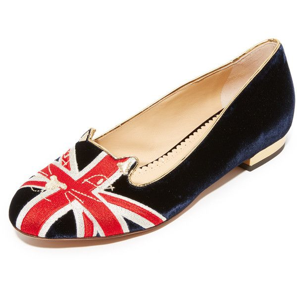 Charlotte Olympia Great Britain Kitty Flats (745 AUD) ❤ liked on Polyvore featuring shoes, flats, multi color, flat pumps, leather sole shoes, colorful shoes, embroidered flat shoes and embroidered shoes