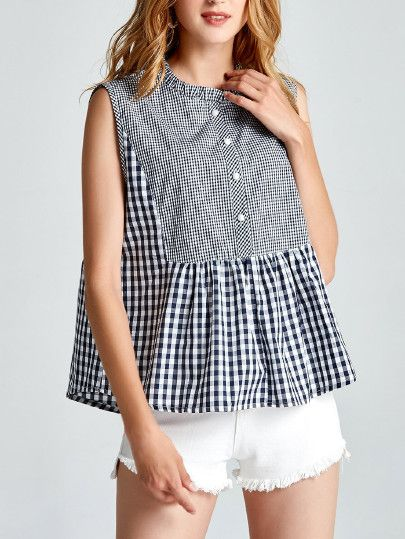 53c755609da43c Shop Ruffle Hem Gingham Tank Top online. SheIn offers Ruffle Hem Gingham Tank  Top   more to fit your fashionable needs.
